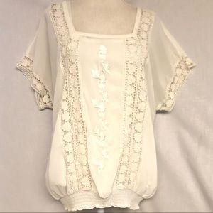 Christopher & Banks lace blouse size XL